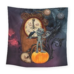 Funny Mummy With Skulls, Crow And Pumpkin Square Tapestry (large) by FantasyWorld7