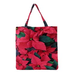 Red Poinsettia Flower Grocery Tote Bag by Mariart