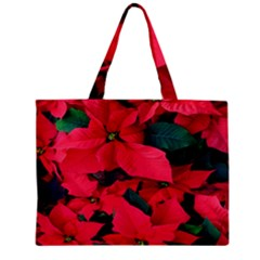 Red Poinsettia Flower Zipper Mini Tote Bag by Mariart