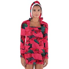 Red Poinsettia Flower Long Sleeve Hooded T Shirt by Mariart