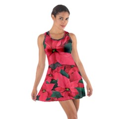 Red Poinsettia Flower Cotton Racerback Dress