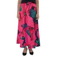 Red Poinsettia Flower Flared Maxi Skirt