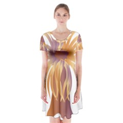 Sea Anemone Short Sleeve V Neck Flare Dress by Mariart