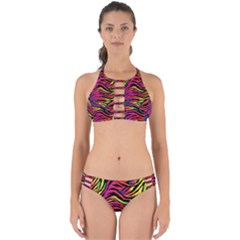 Rainbow Zebra Perfectly Cut Out Bikini Set
