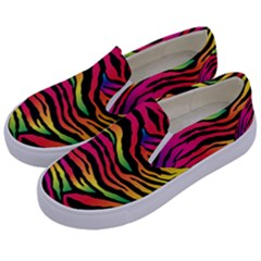 Rainbow Zebra Kids  Canvas Slip Ons by Mariart
