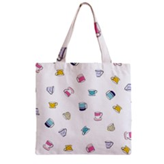 Tea Cup Mug Dringking Yellow Blue Grey Polka Dots Zipper Grocery Tote Bag