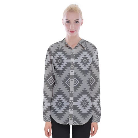 Triangle Wave Chevron Grey Sign Star Womens Long Sleeve Shirt by Mariart