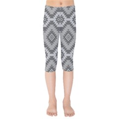 Triangle Wave Chevron Grey Sign Star Kids  Capri Leggings  by Mariart