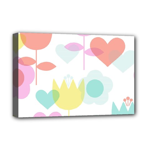 Tulip Lotus Sunflower Flower Floral Staer Love Pink Red Blue Green Deluxe Canvas 18  X 12   by Mariart