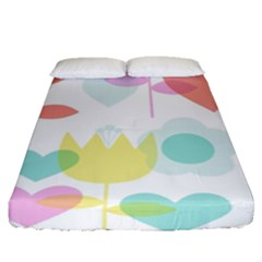 Tulip Lotus Sunflower Flower Floral Staer Love Pink Red Blue Green Fitted Sheet (queen Size) by Mariart