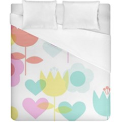 Tulip Lotus Sunflower Flower Floral Staer Love Pink Red Blue Green Duvet Cover (california King Size)