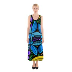 Star Polka Natural Blue Yellow Flower Floral Sleeveless Maxi Dress