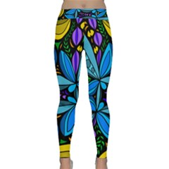 Star Polka Natural Blue Yellow Flower Floral Classic Yoga Leggings by Mariart