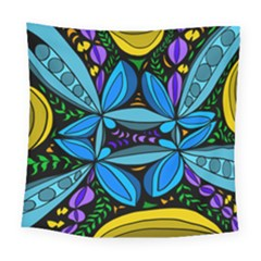 Star Polka Natural Blue Yellow Flower Floral Square Tapestry (large) by Mariart