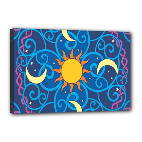 Sun Moon Star Space Vector Clipart Canvas 18  X 12  by Mariart