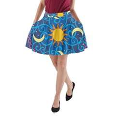 Sun Moon Star Space Vector Clipart A Line Pocket Skirt by Mariart
