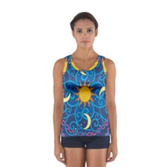 Sun Moon Star Space Vector Clipart Sport Tank Top  by Mariart