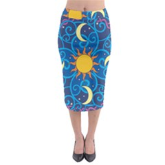 Sun Moon Star Space Vector Clipart Midi Pencil Skirt by Mariart