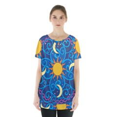 Sun Moon Star Space Vector Clipart Skirt Hem Sports Top by Mariart