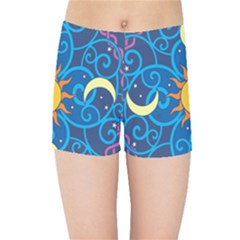Sun Moon Star Space Vector Clipart Kids Sports Shorts by Mariart