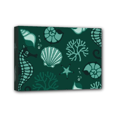 Vector Seamless Pattern With Sea Fauna Seaworld Mini Canvas 7  X 5  by Mariart