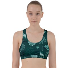 Vector Seamless Pattern With Sea Fauna Seaworld Back Weave Sports Bra