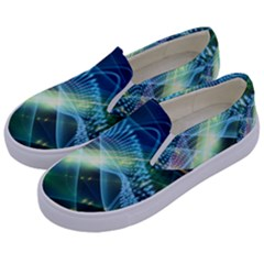 Waveslight Chevron Line Net Blue Kids  Canvas Slip Ons by Mariart