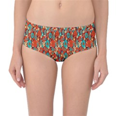Surface Patterns Bright Flower Floral Sunflower Mid Waist Bikini Bottoms by Mariart