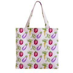 Vegetable Pattern Carrot Zipper Grocery Tote Bag by Mariart