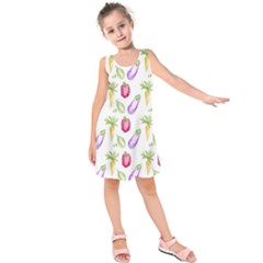 Vegetable Pattern Carrot Kids  Sleeveless Dress by Mariart
