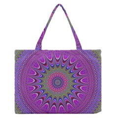 Art Mandala Design Ornament Flower Zipper Medium Tote Bag by BangZart