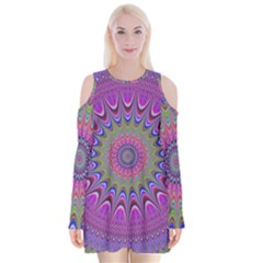 Art Mandala Design Ornament Flower Velvet Long Sleeve Shoulder Cutout Dress