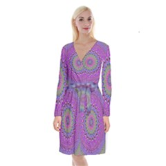 Art Mandala Design Ornament Flower Long Sleeve Velvet Front Wrap Dress