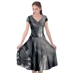 Chicago Skyline Tall Buildings Cap Sleeve Wrap Front Dress by BangZart