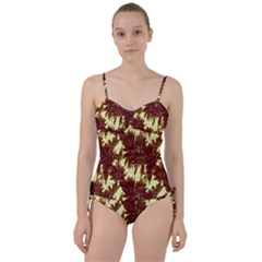 Floral Pattern Background Sweetheart Tankini Set
