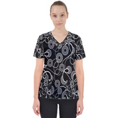 Floral Pattern Background Scrub Top