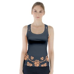 Floral Vintage Royal Frame Pattern Racer Back Sports Top