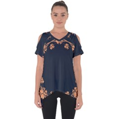 Floral Vintage Royal Frame Pattern Cut Out Side Drop Tee