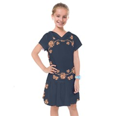 Floral Vintage Royal Frame Pattern Kids  Drop Waist Dress