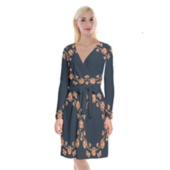 Floral Vintage Royal Frame Pattern Long Sleeve Velvet Front Wrap Dress