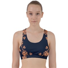 Floral Vintage Royal Frame Pattern Back Weave Sports Bra