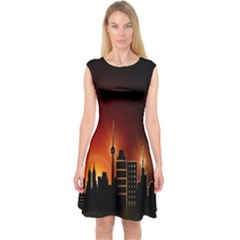Gold Golden Skyline Skyscraper Capsleeve Midi Dress