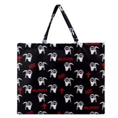 Death Pattern   Halloween Zipper Large Tote Bag by Valentinaart