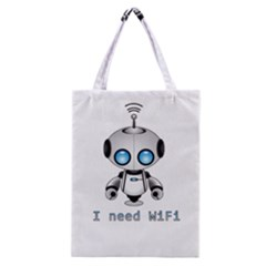 Cute Robot Classic Tote Bag by Valentinaart