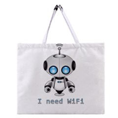 Cute Robot Zipper Large Tote Bag by Valentinaart