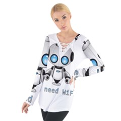 Cute Robot Tie Up Tee by Valentinaart