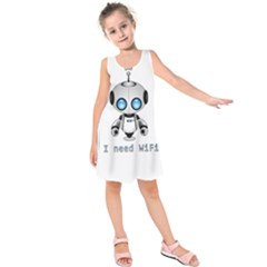 Cute Robot Kids  Sleeveless Dress by Valentinaart