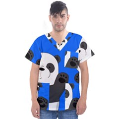 Cute Pandas Men s V-neck Scrub Top