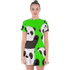 Cute Pandas Drop Hem Mini Chiffon Dress