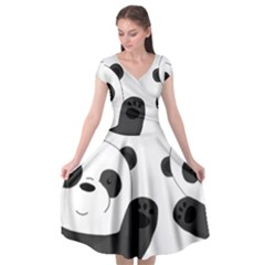 Cute Pandas Cap Sleeve Wrap Front Dress